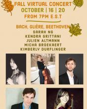 Online Concert at Oct 16 2020, at 7pm EST